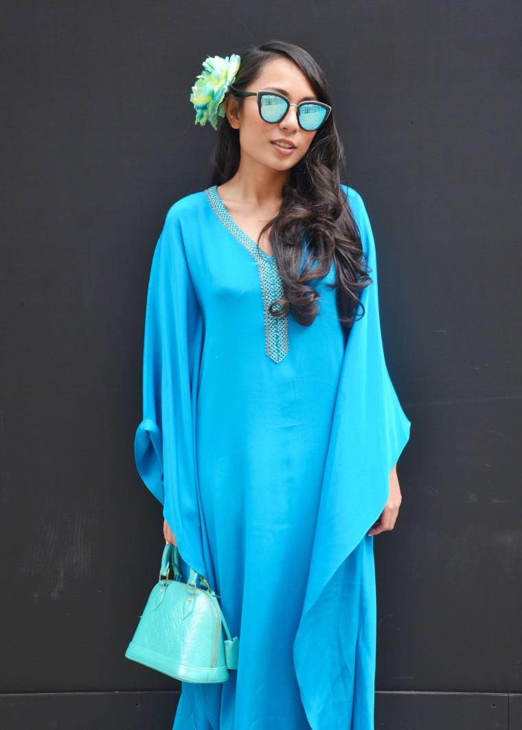 Spinninstyle-RiyaAris-LondonFashionWeekAW15-FashionWeek-Malaysia-Outfit-OOTD-002-Kaftan-bajukurung-blue-shoesshoesshoes-louisvuitton-Quay-flower-bunga